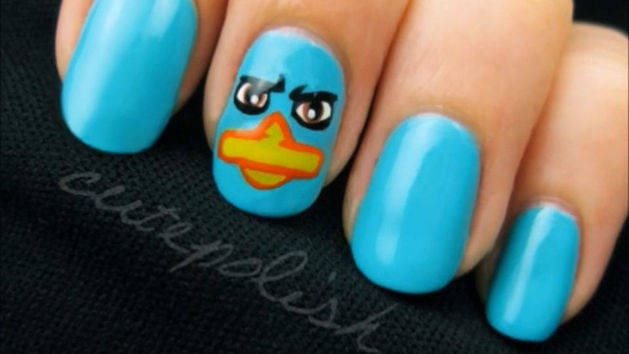 Perry the Platypus (Agent P) Nail Art -- a CutePolish Disney Exclusive