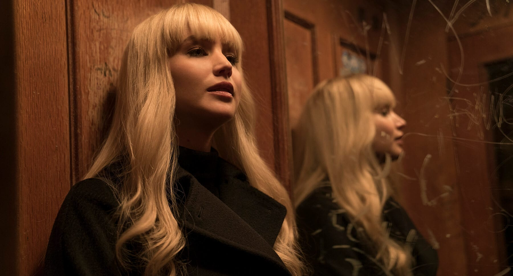 "Jennifer Lawrence (as Dominika Egorova) in an elevator in  ""Red Sparrow"""