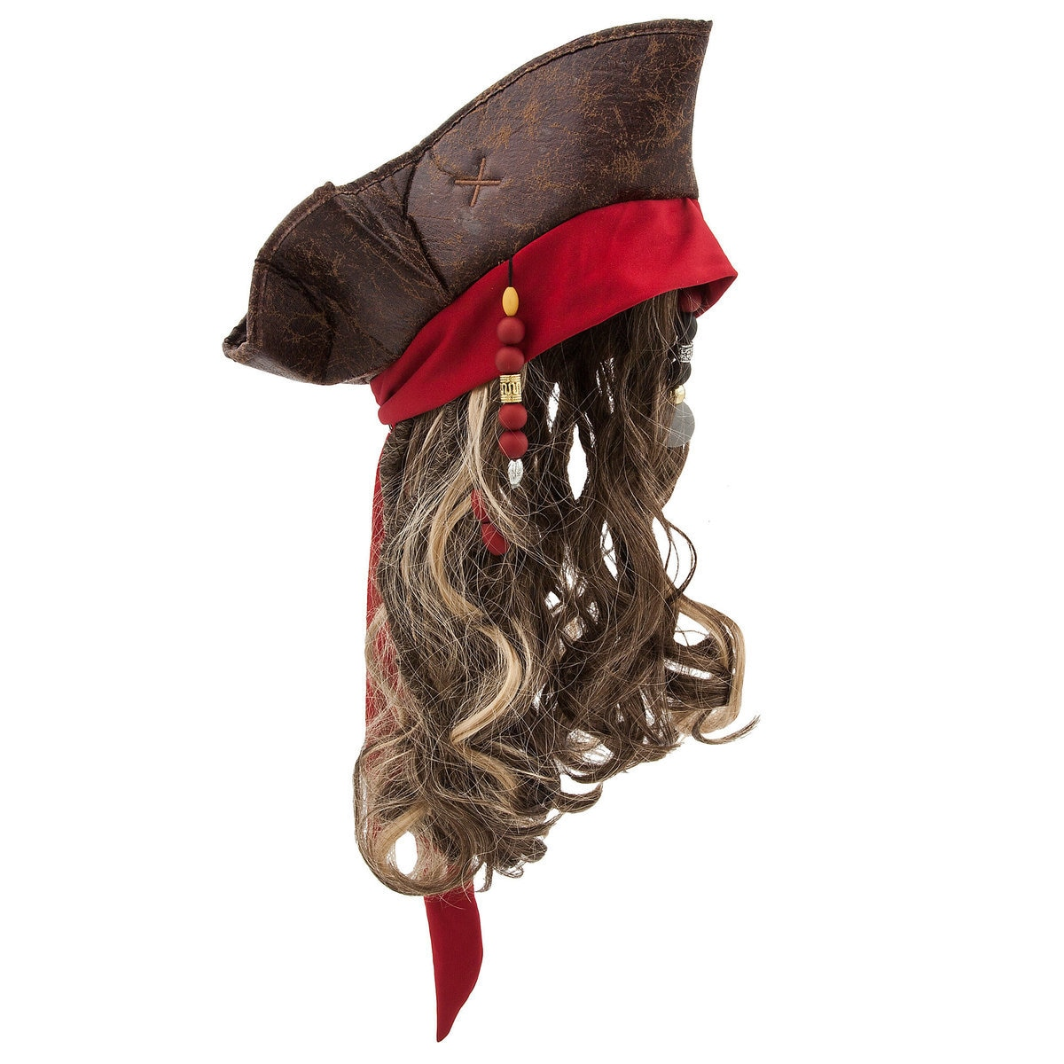 48e7e78d364 Product Image of Jack Sparrow Pirate Hat and Wig for Kids   3