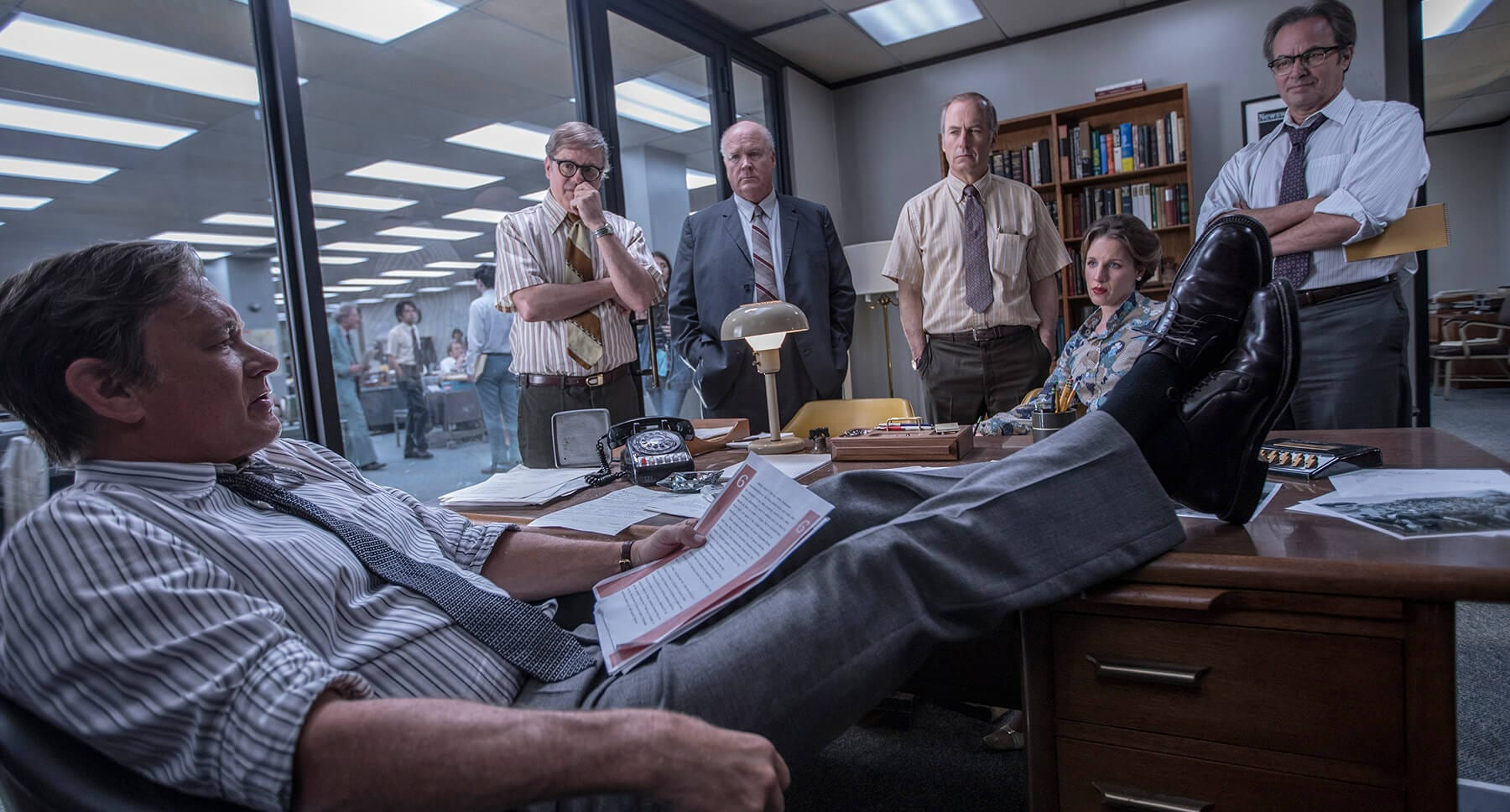 "Tom Hanks, Philip Casnoff, David Cross, Bob Odenkirk, and Jessie Mueller in ""The Post"""