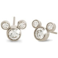 Diamond Stud Mickey Mouse Earrings - 18K - Large