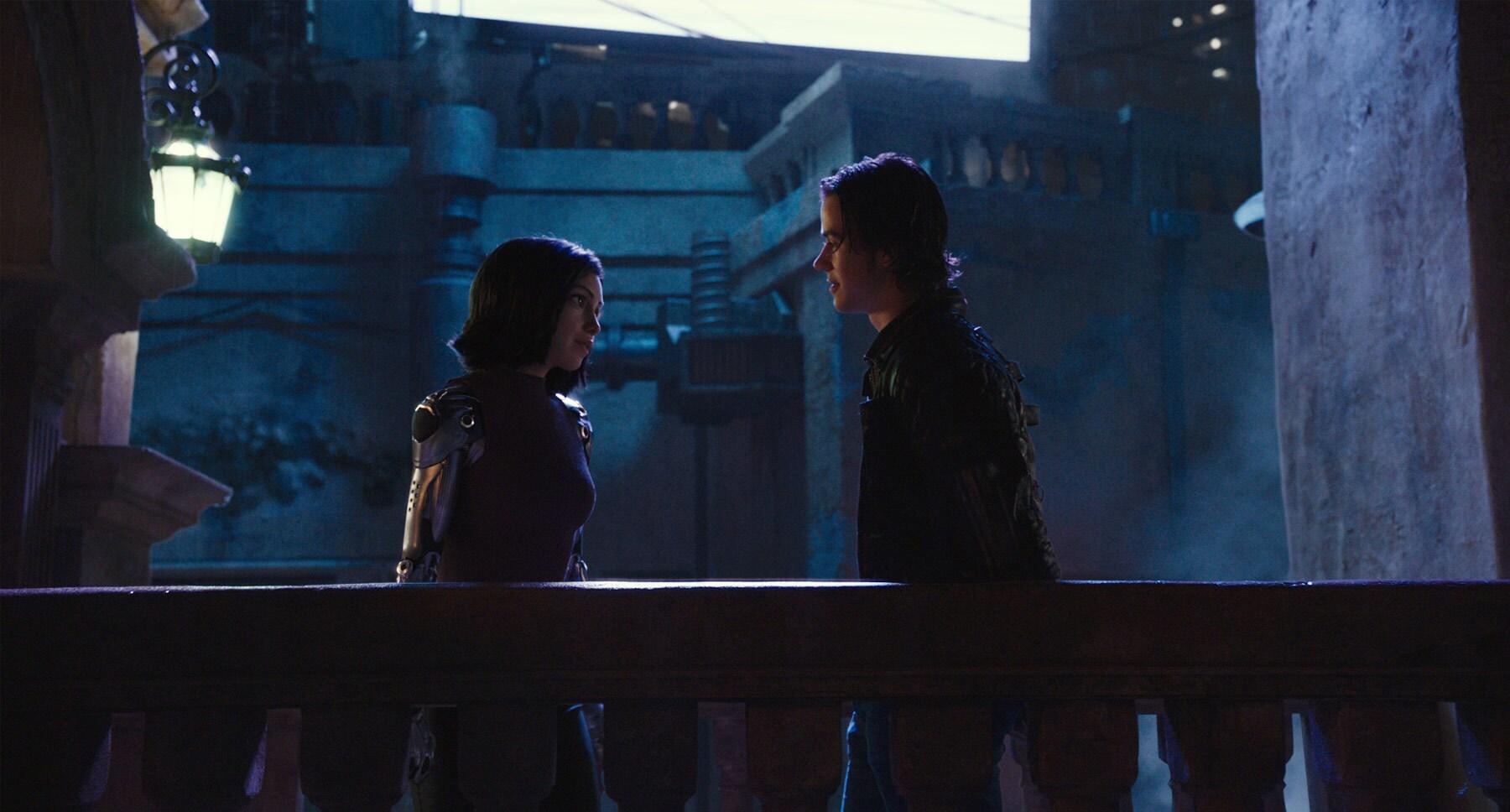 "Actors Rosa Salazar and Keean Johnson in the movie ""Alita: Battle Angel"""