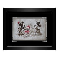 Mickey and Minnie Mouse ''The Way to His Heart'' Framed Deluxe Print by Noah