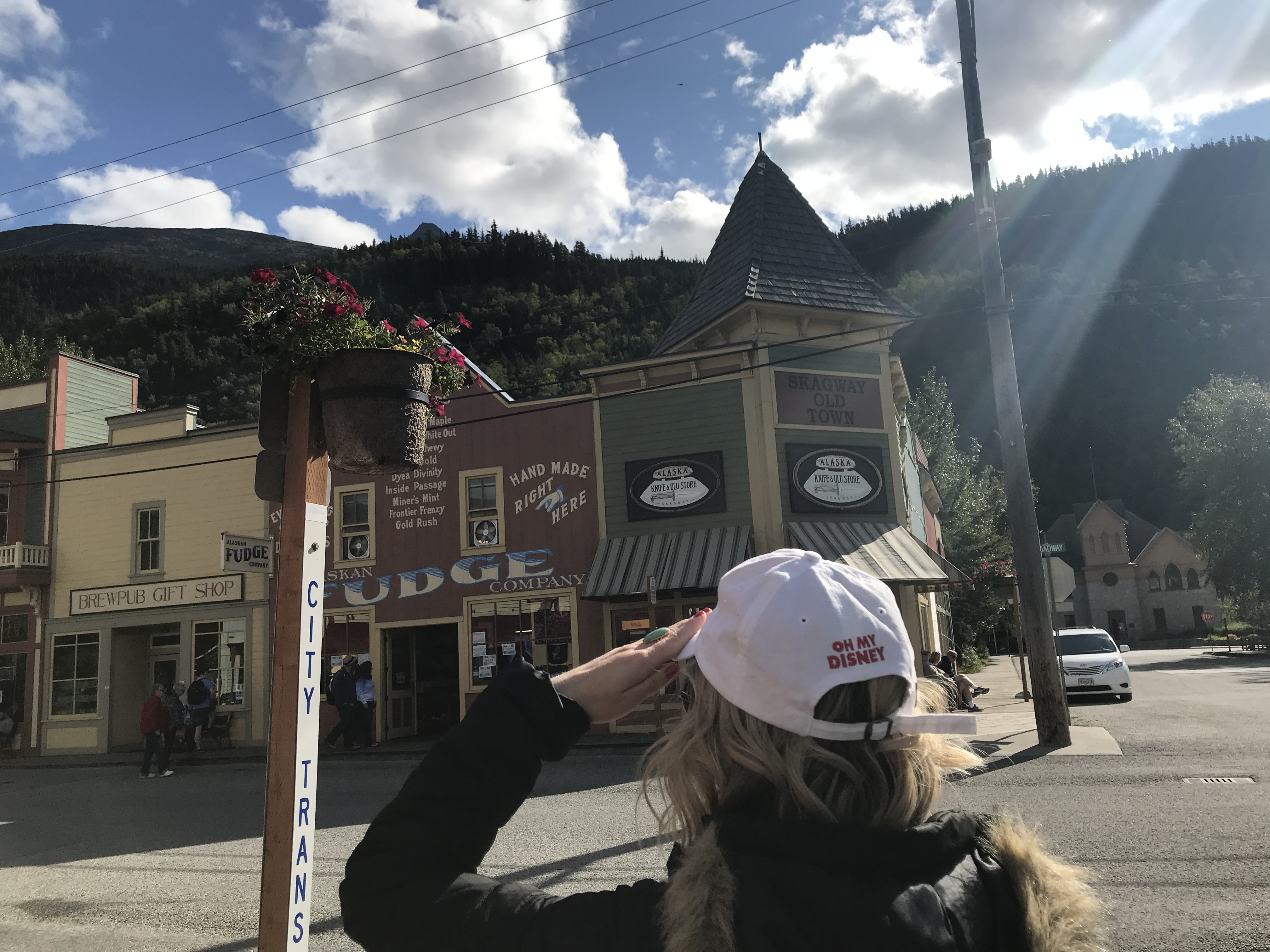 Skagway Main Street on Disney Wonder Alaska Cruise with Oh My Disney hat