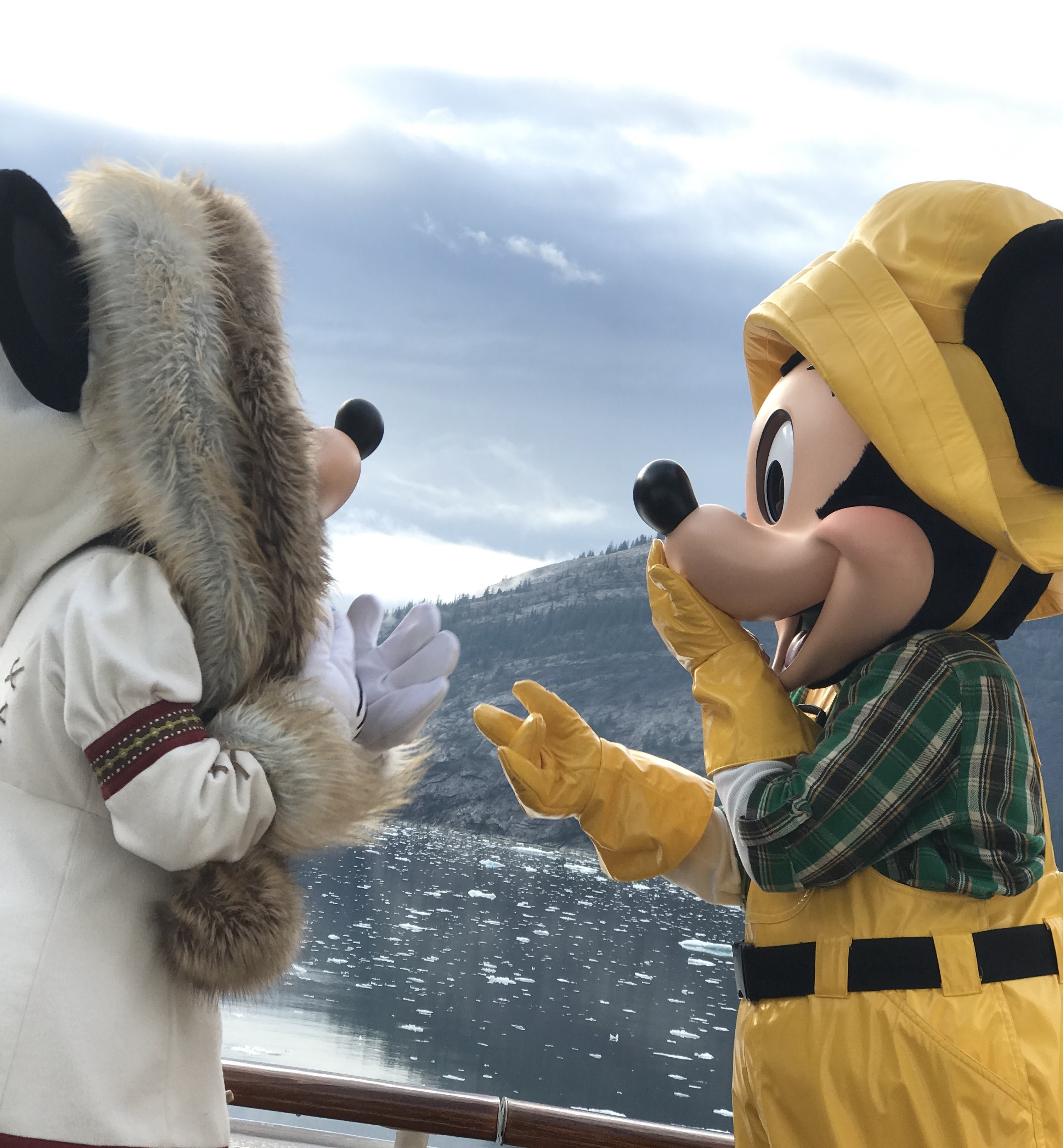 Minnie and Mickey in Alaska Outfits on the Disney Wonder Alaska Cruise in Tracy Arm