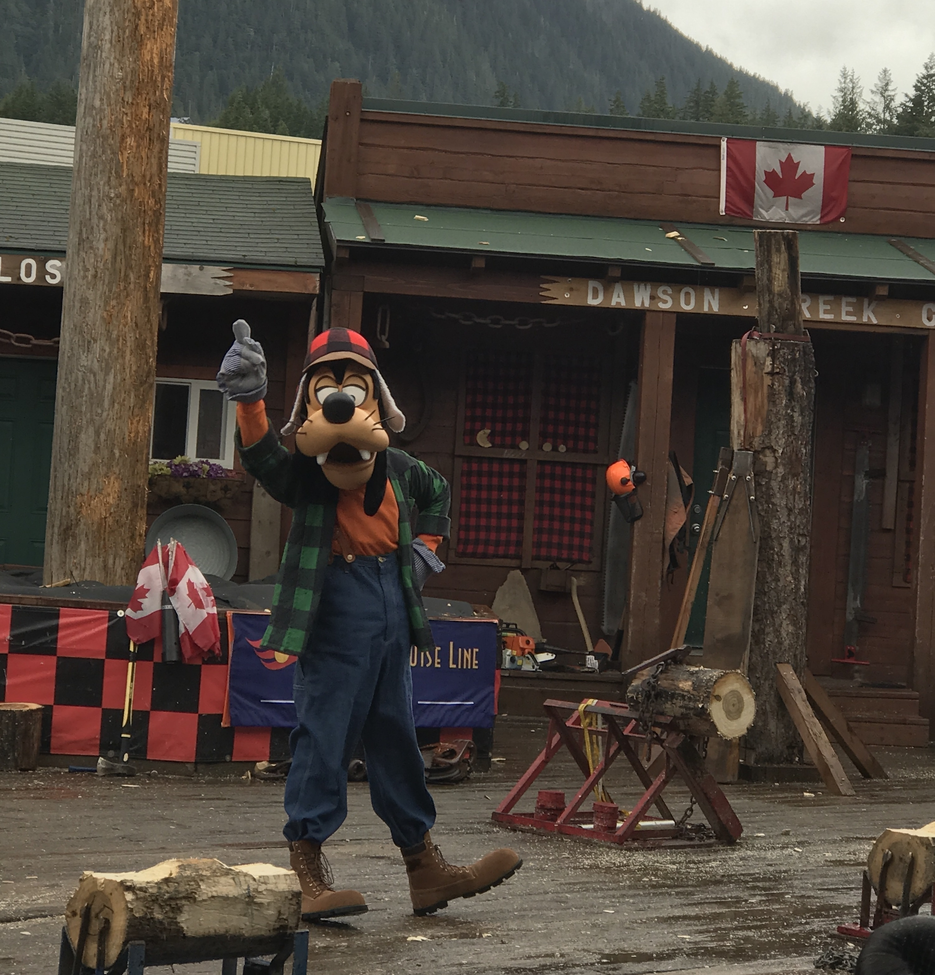 Goofy at the Ketchikan Lumberjack Show Excursion on the Disney Wonder Alaska Cruise