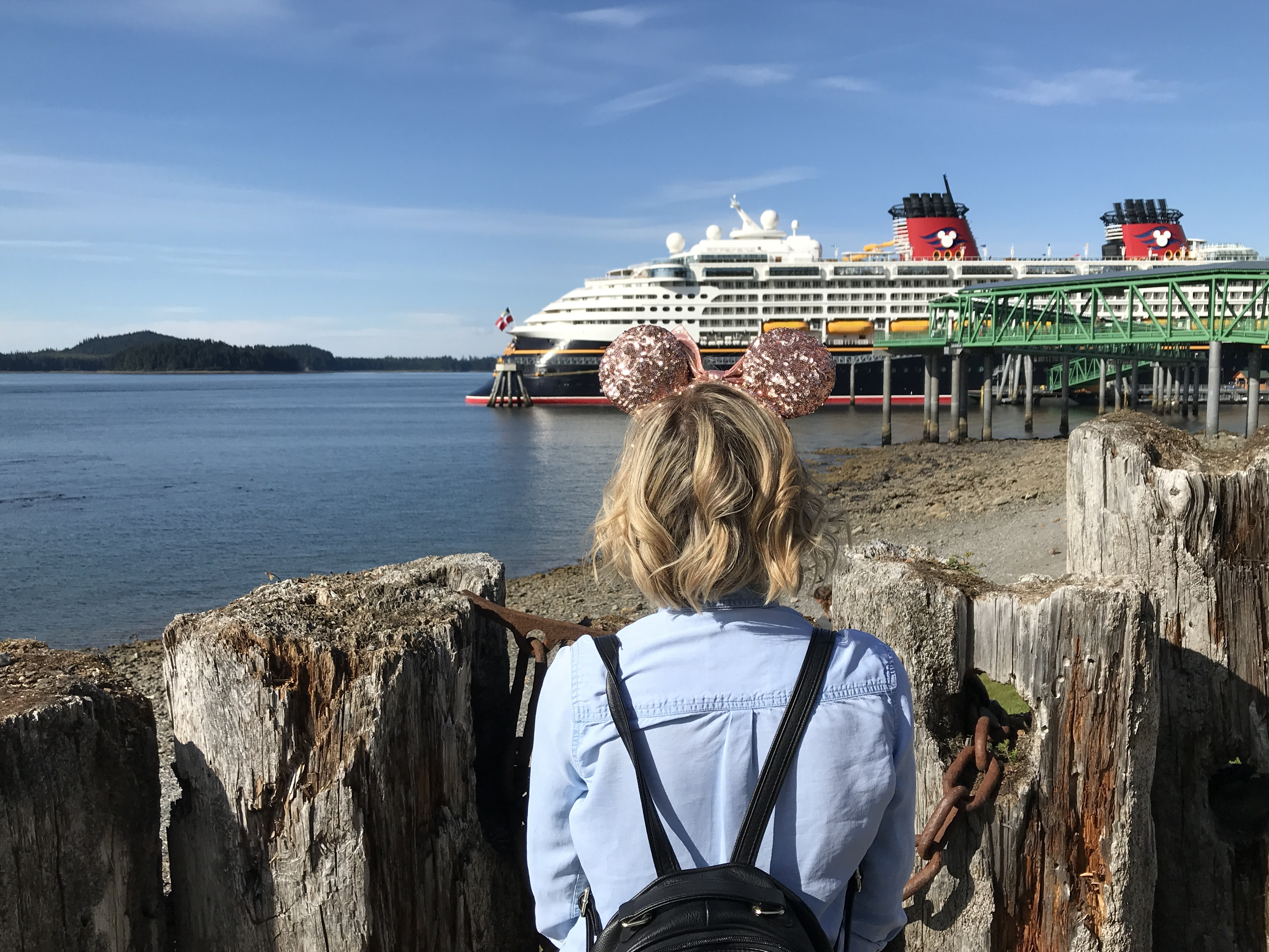 Minnie Ears in front of Disney Wonder in Icy Strait Point, Alaska