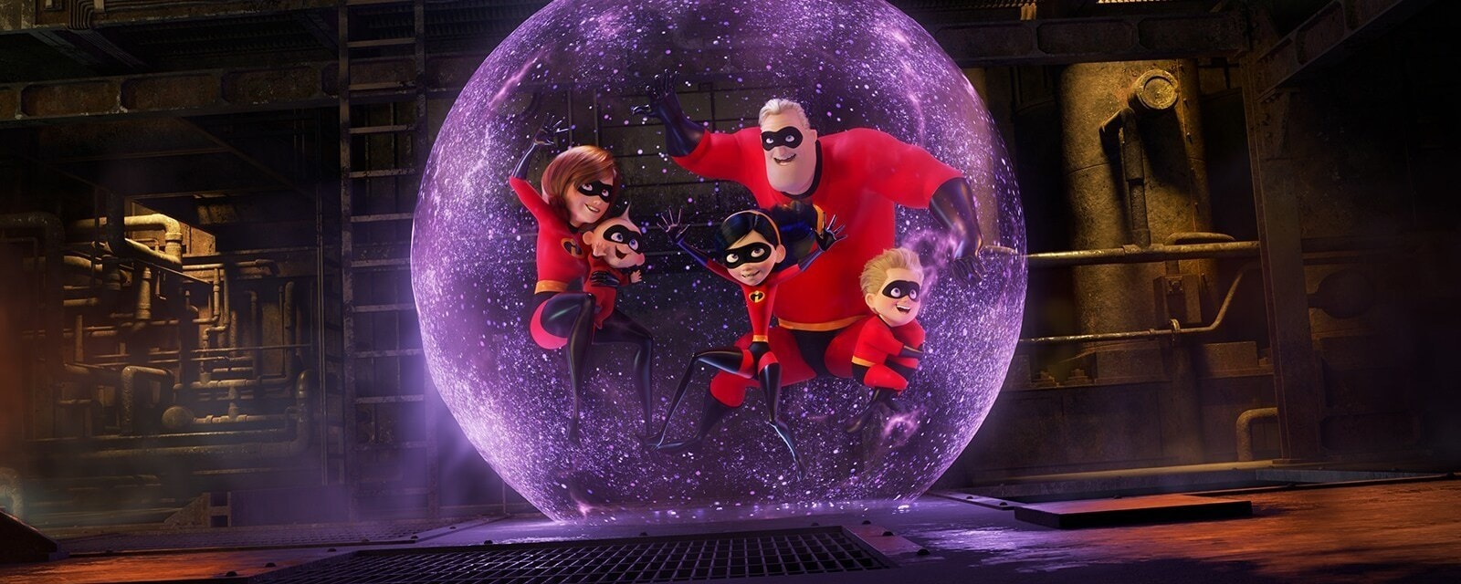 Violet Parr protects her family of supers by throwing a force field around them