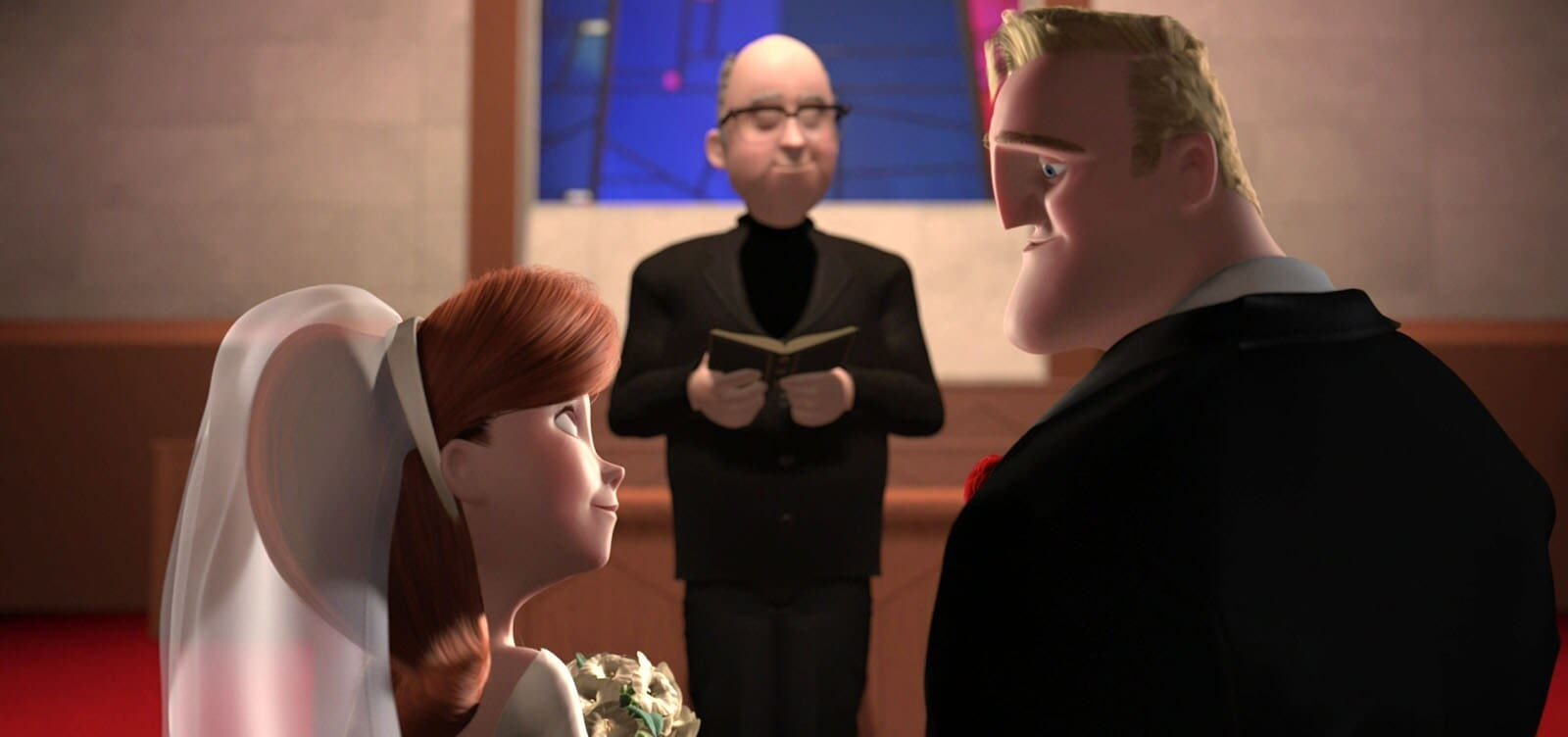 "The wedding of Mr. Incredible and Elastigirl in ""The Incredibles"""