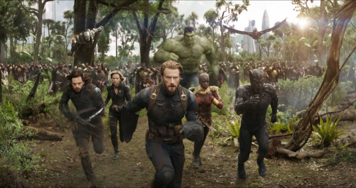 Captain America, Black Panther, and other Avengers charging