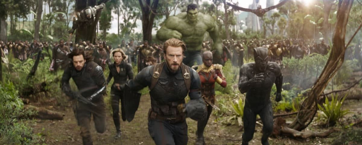 Avengers run together in a scene from the movie Avengers: Infinity War.
