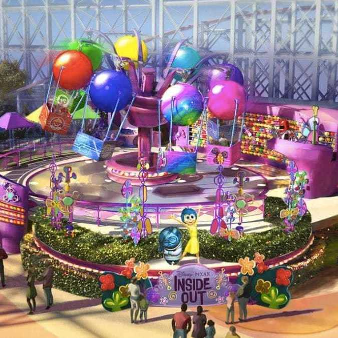 We're Feeling Joy for the Inside Out Emotional Whirlwind Attraction Coming to Pixar Pier