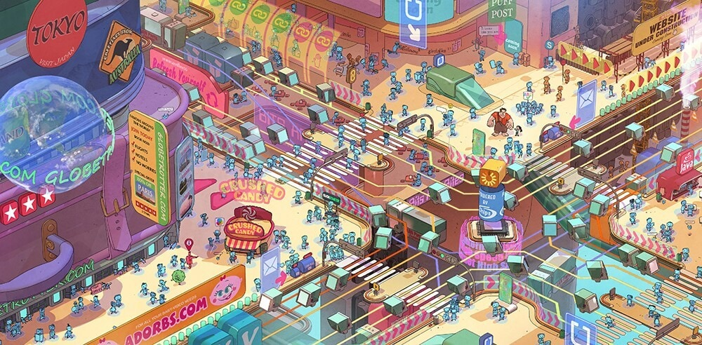 "Concept art of Internet ""information highway"" for Ralph Breaks The Internet"