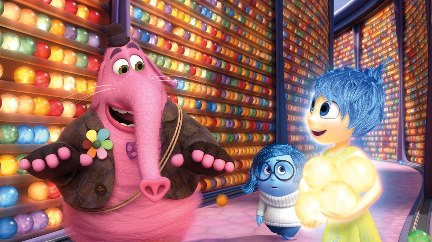 Actors Richard Kind as Bing Bong, Phyllis Smith as Sadness, and Amy Poehler as Joy in the movie Inside Out
