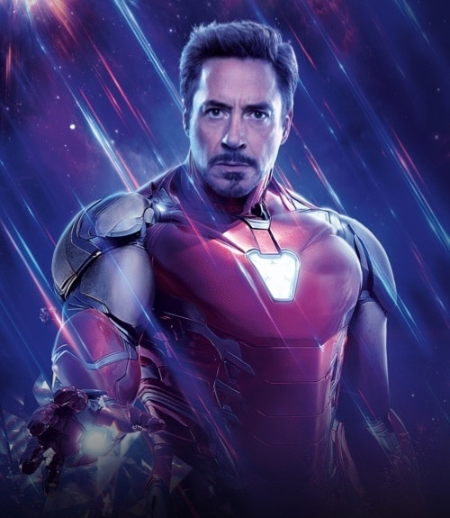 Robert Downey Jr. con l'armatura di Iron Man