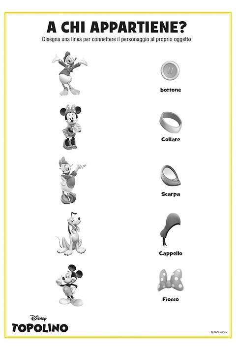 Foglio stampabile con gioco accoppia i personaggi disney con i loro oggetti