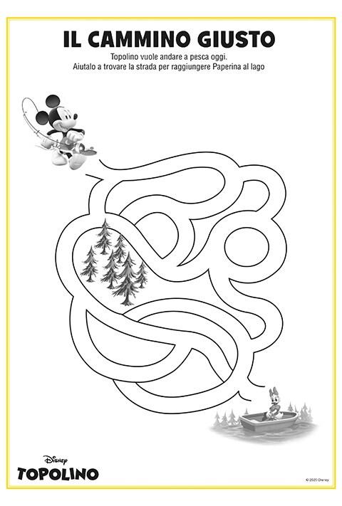 Foglio stampabile con labirinto di Topolino