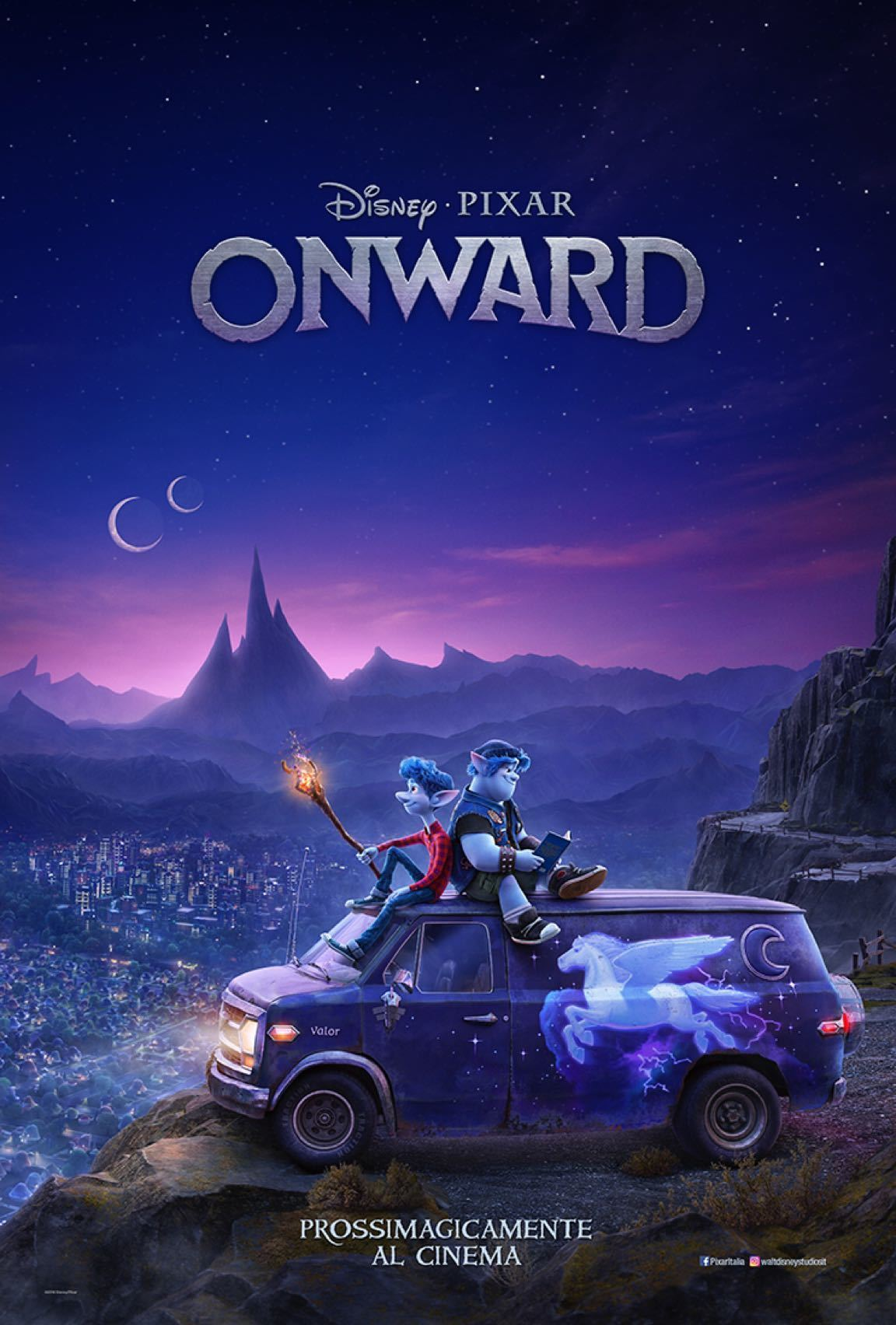 Due fratelli elfi, Lightfoot e Barley, seduti sul tettuccio di un furgoncino, con la città sullo sfondo
