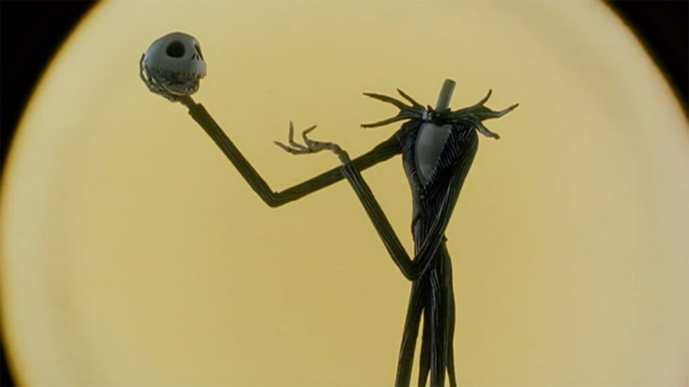 "Jack Skellington holding his head in his hand from the film ""The Nightmare Before Christmas"""