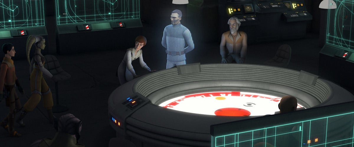 Jan Dodonna, Mon Mothma, and Bail Organa strategizing with the Ghost Crew