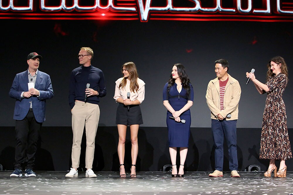 Cast of WandaVision on D23 stage