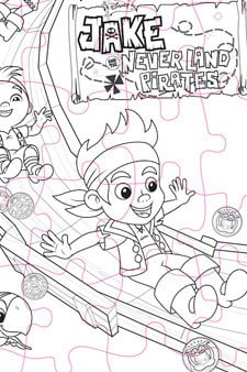 Jake and the Never Land Pirates Puzzle Colouring Page
