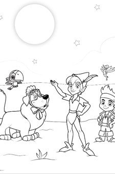 Jake and the Never Land Pirates Group Colouring Page