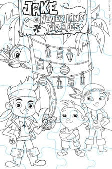 Jake and the Never Land Pirates Puzzle Colouring Page 2