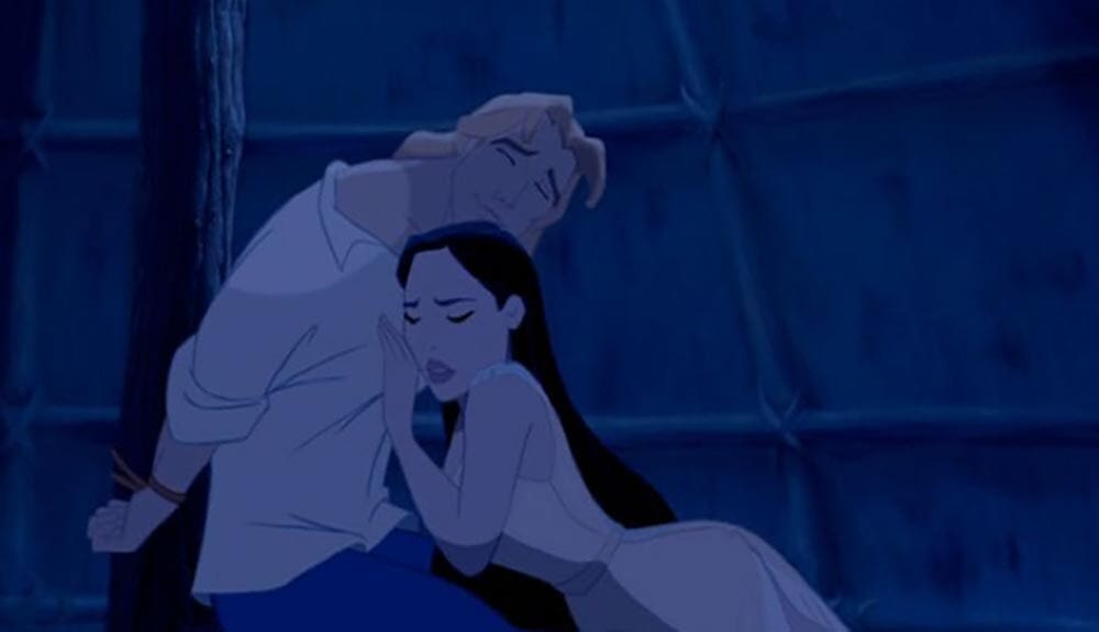 "Animated character Pocahontas leaning on captured John Smith from the film ""Pocahontas"""