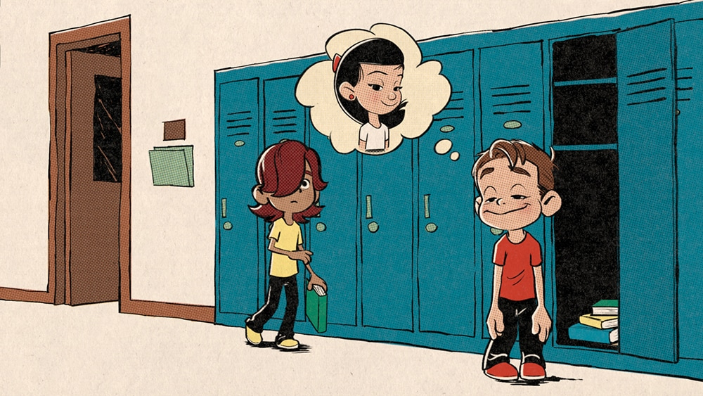 Ollie thinking of a girl in front of his locker