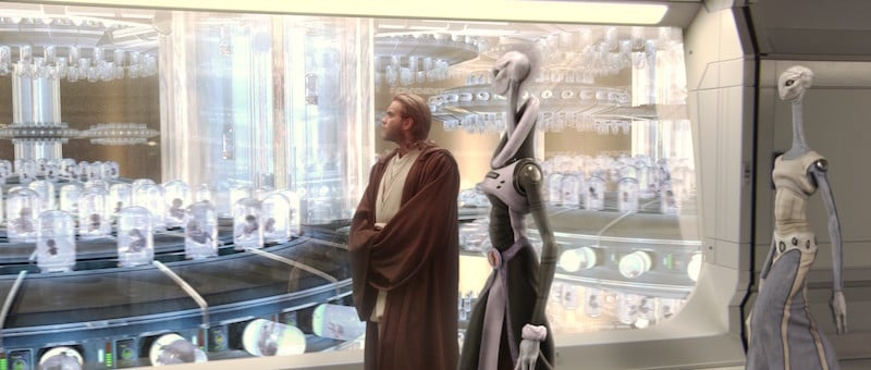 Obi-Wan Kenobi inspecting the first batches of Clone Troopers