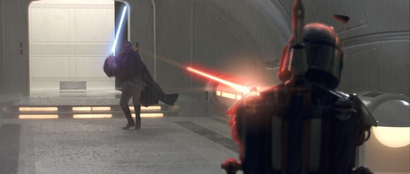 Obi-Wan attempting to apprehend Jango Fett on kamino