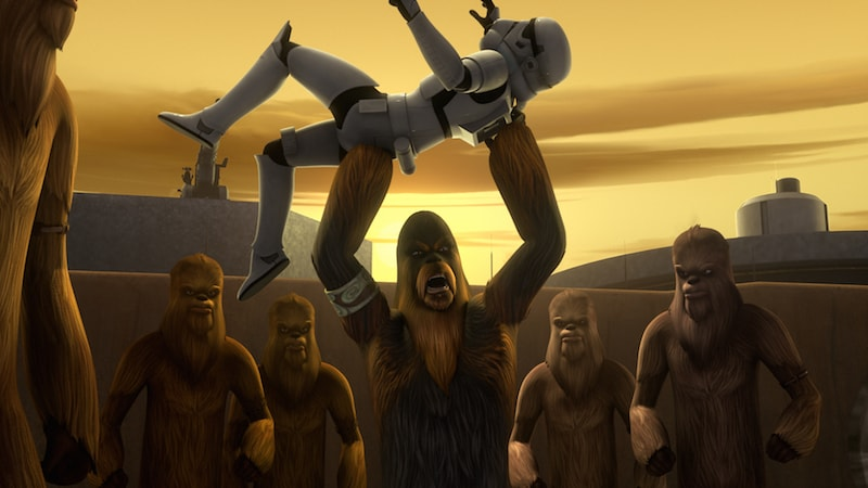 Wookiee slaves rebelling against the Empire on Kessel