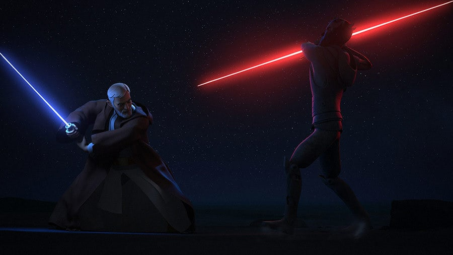 Obi-Wan Kenobi and Darth Maul dueling on Tatooine