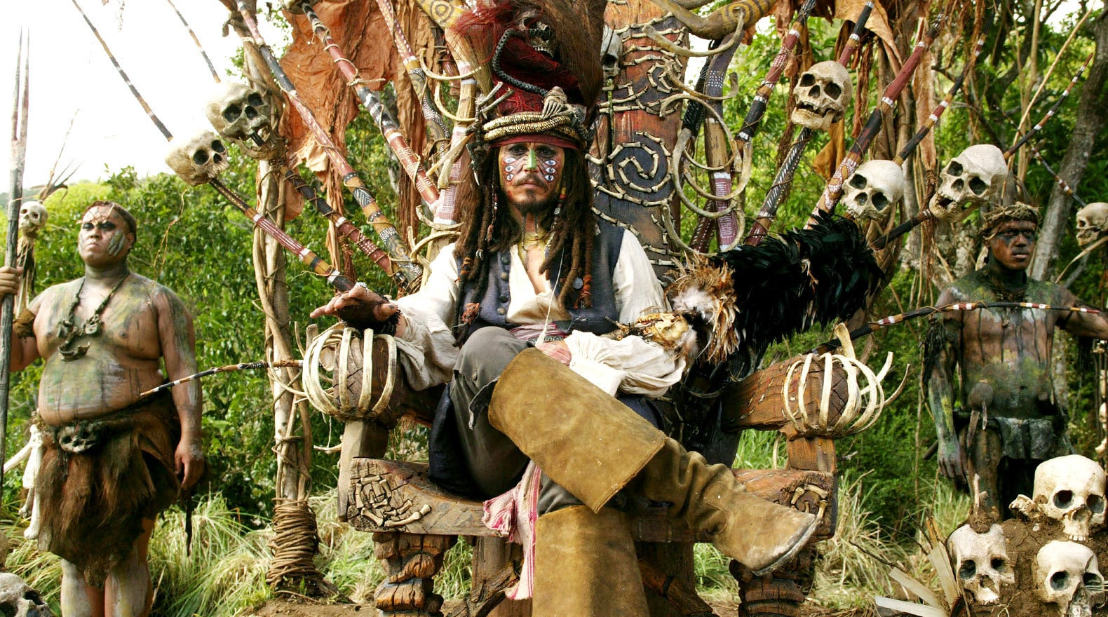 Captain Jack is worshipped as a god on a remote island.
