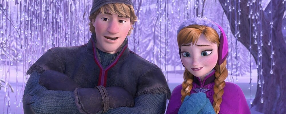 "Animated characters Kristoff and Anna from the film ""Frozen"""