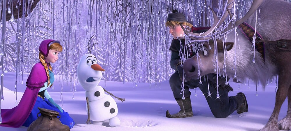 "Animated characters Anna, Olaf, Kristoff and Sven from the film ""Frozen"""