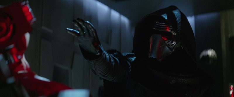 Kylo Ren reaching out with the Dark Side to interrogate a prisoner