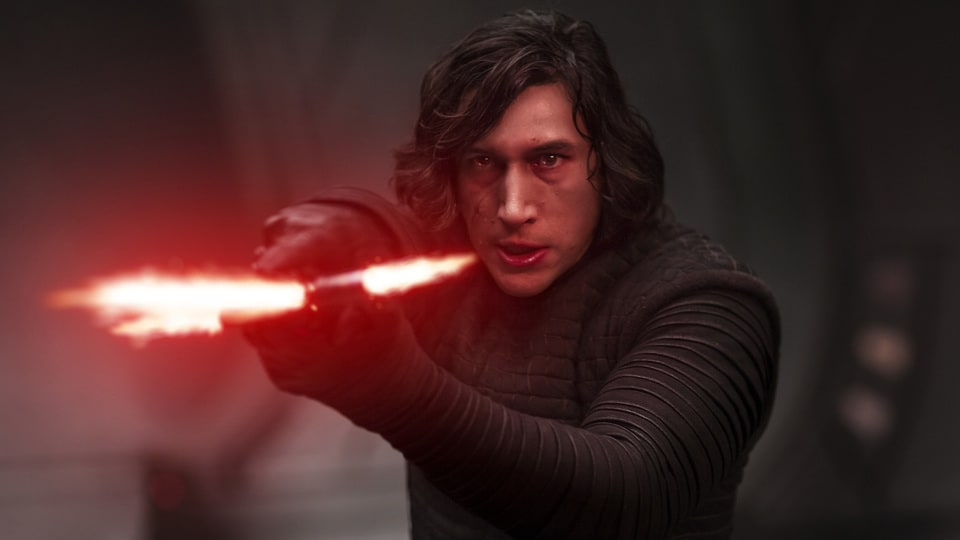 Kylo Ren from Star Wars holding  a lightsaber