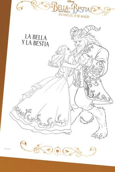 La Bella y la Bestia - Láminas para colorear