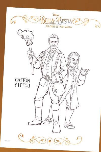 La Bella y la Bestia - Lámina para colorear Gastón y Lefou