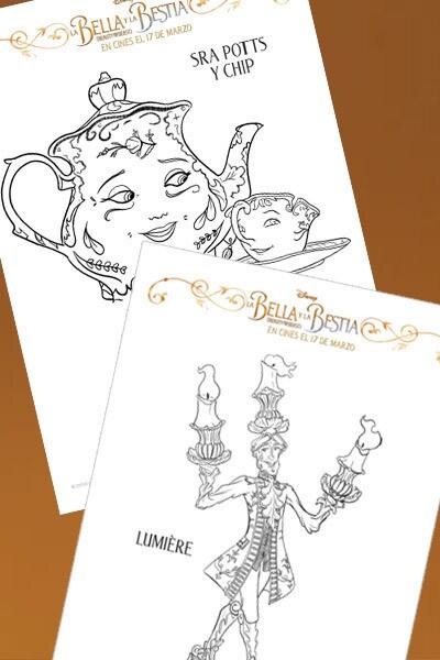 La Bella y la Bestia - Láminas para colorear personajes