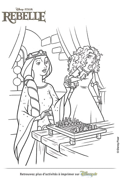 Coloriage La reine Elinor et Merida
