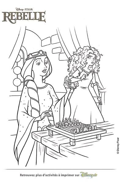 Coloriage La reine Elinor et Merida