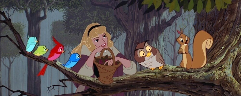 "Aurora with woodland creatures in the animated movie ""Sleeping Beauty"""