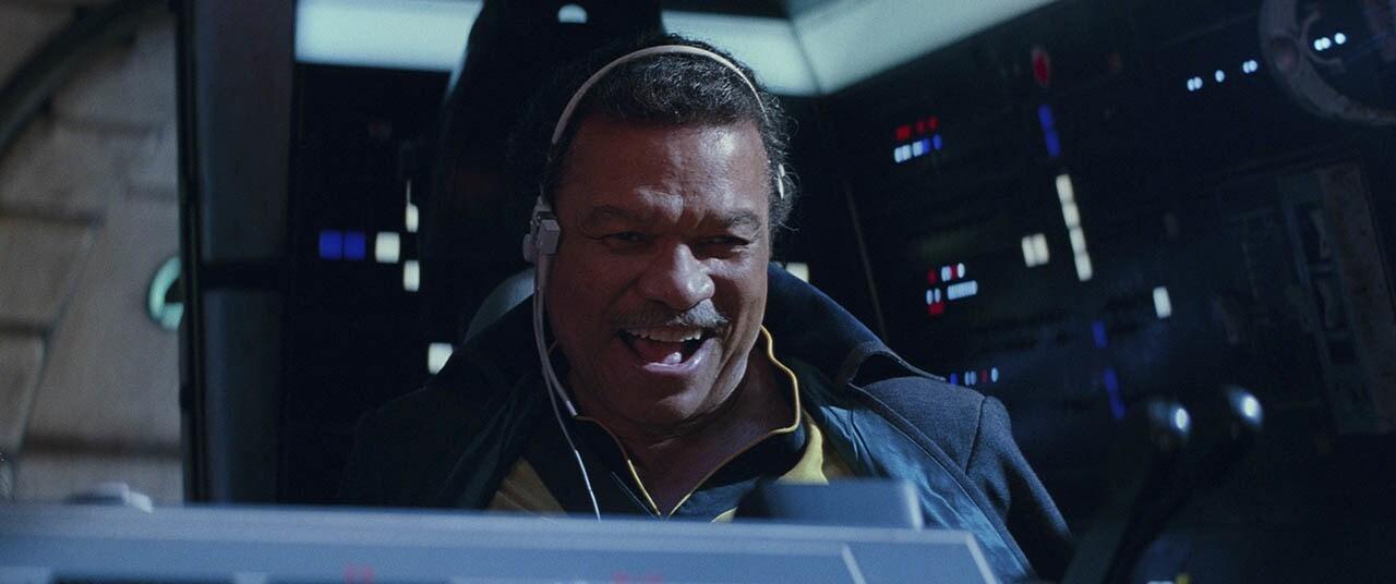 Lando flying the Falcon