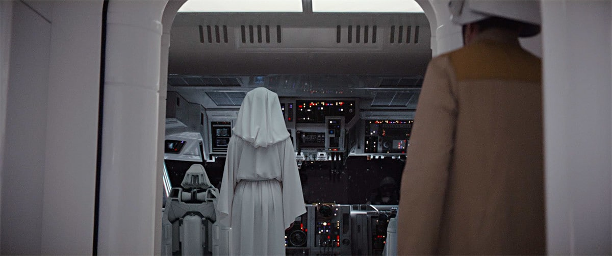 Princess Leia in the Tantive IV, shortly after the Battle of Scarriff