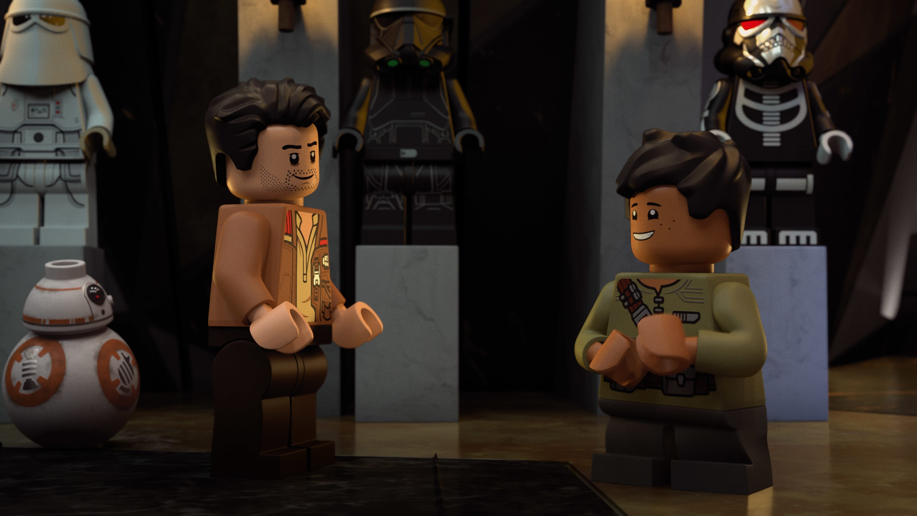 (L-R): BB-8, Poe, and Dean meet inside Castle Vader in LEGO STAR WARS TERRIFYING TALES exclusively on Disney+. ©2021 Lucasfilm Ltd. & TM. All Rights Reserved.