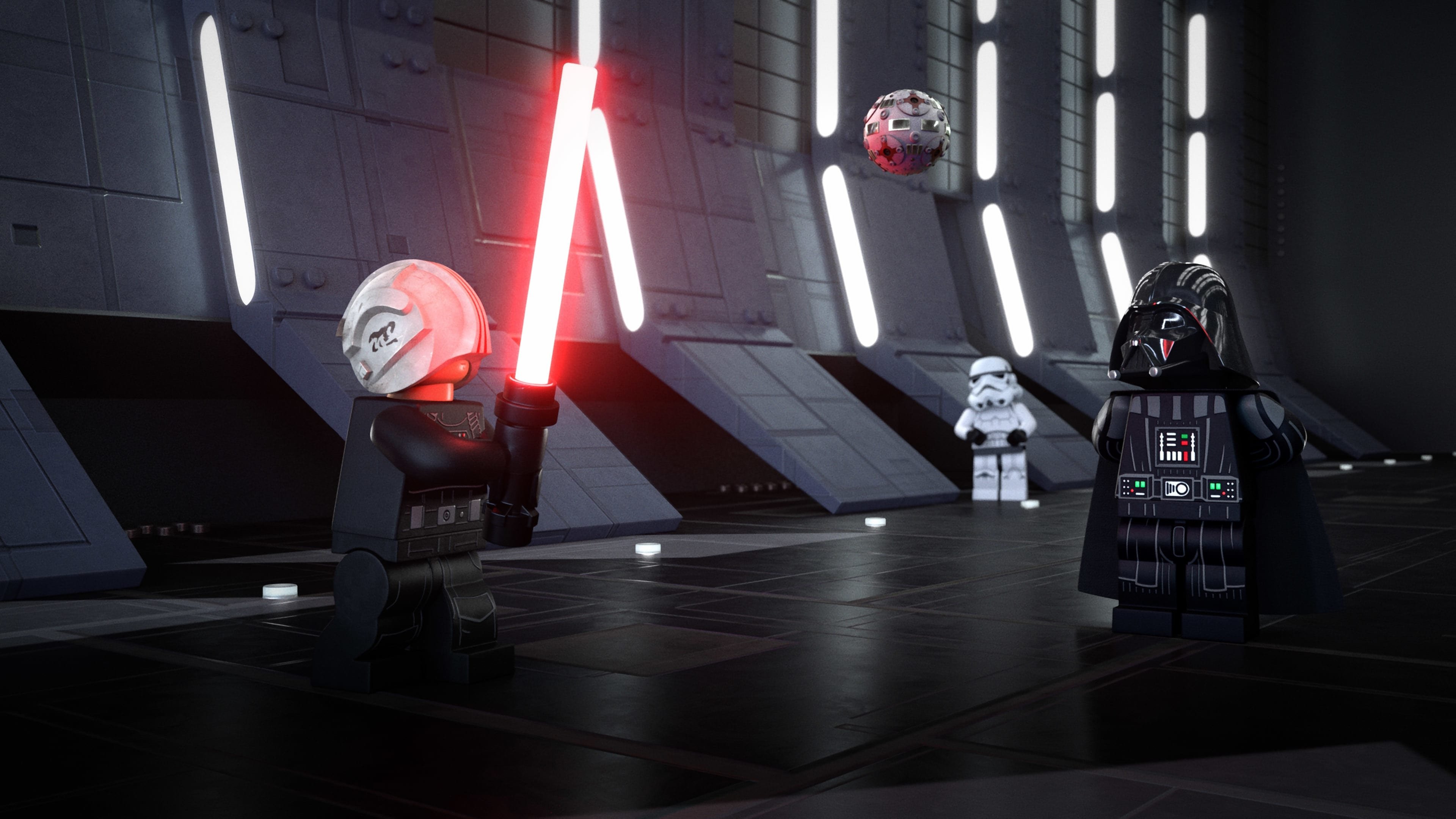 """(L-R): Darth Vader trains Luke Skywalker in the tale of """"The Wookiee's Paw"""" in LEGO STAR WARS TERRIFYING TALES exclusively on Disney+. ©2021 Lucasfilm Ltd. & TM. All Rights Reserved."""