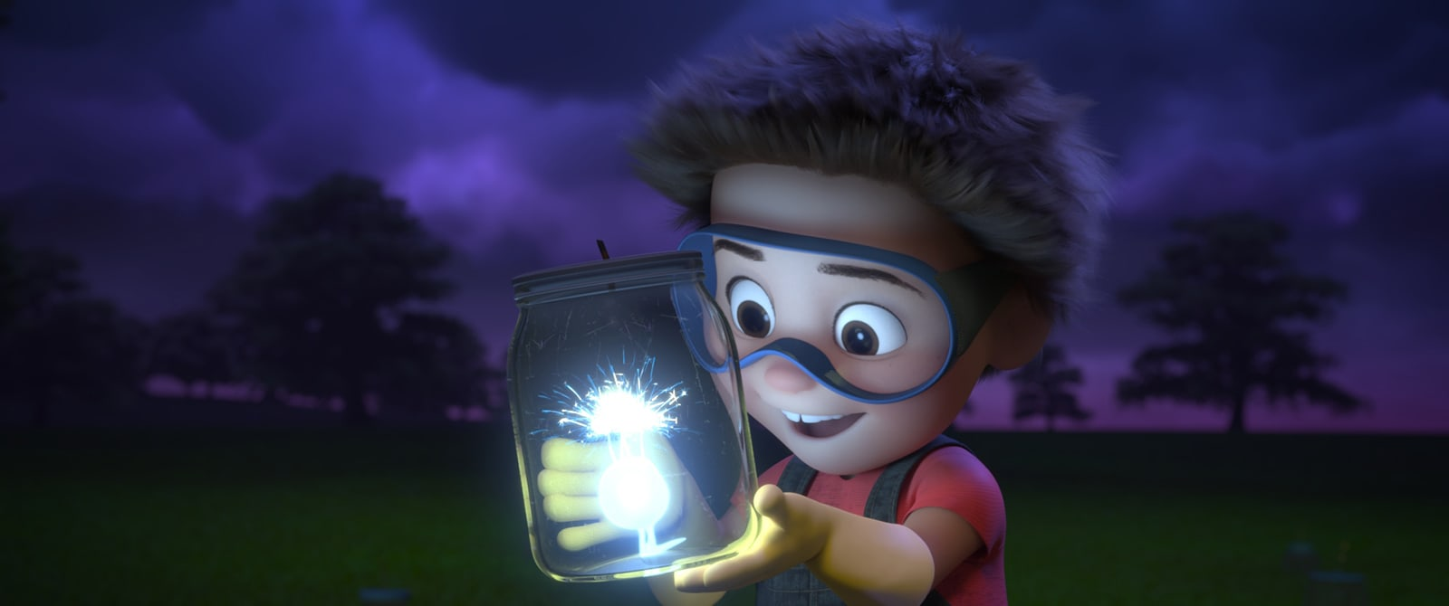 Little boy holding a glass jar of lightning